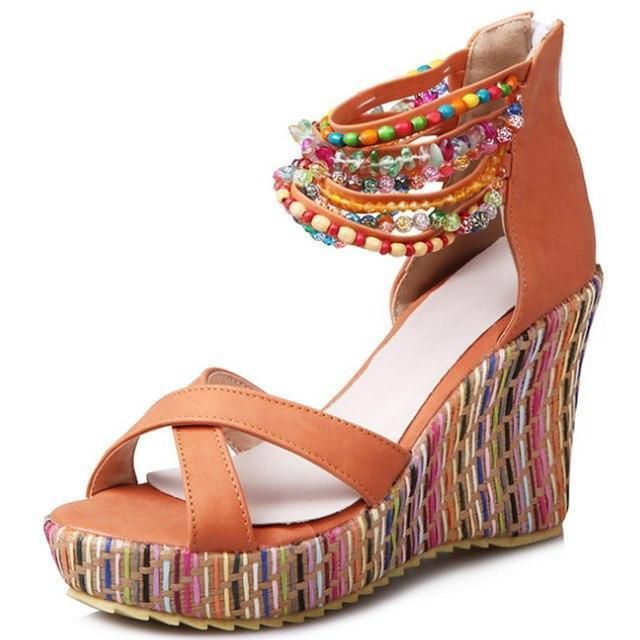 cb08efe78294 Wedges heel platform sandals women string bead fashion plus size 9-10.5  ladies sandals open toe sexy non-slip sandals