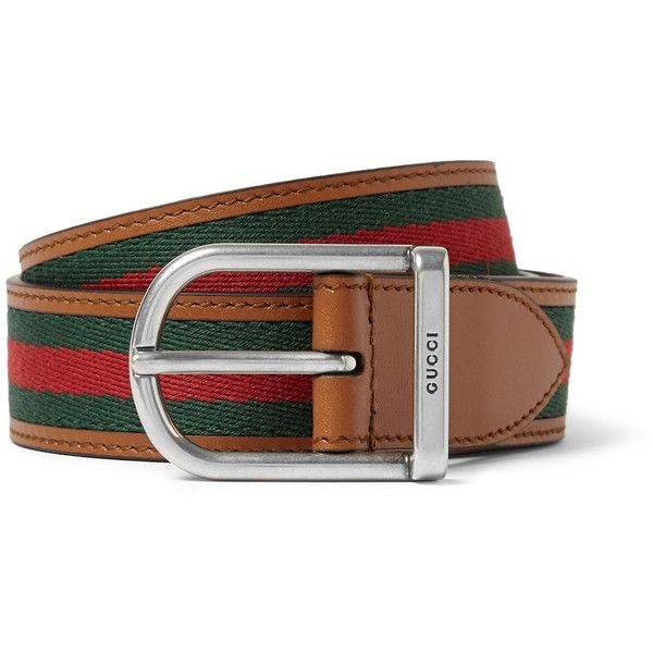 gucci 3cm belt. gucci 3cm striped webbed leather belt ($330) ❤ liked on polyvore featuring mens,