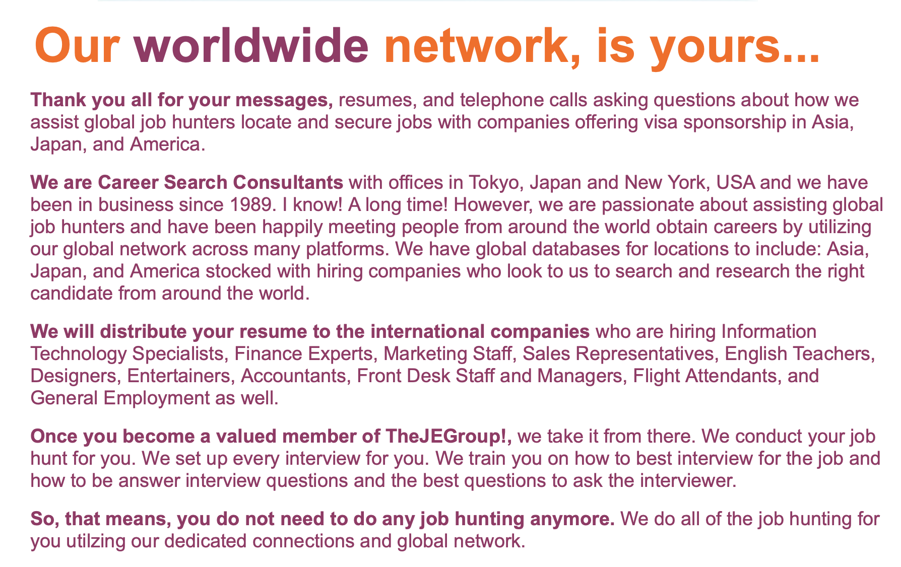 TheJEGroup! Career search, This or that questions