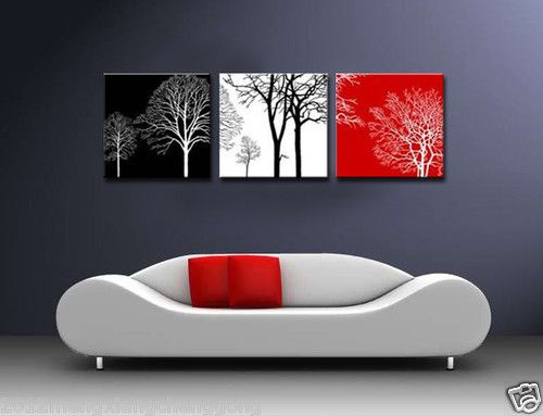 Modern Abstract Wall Canvas Art Oil Painting Black White Red Tree No Frame Ebay Abstract Wall Canvas Abstract Canvas Painting Wall Canvas