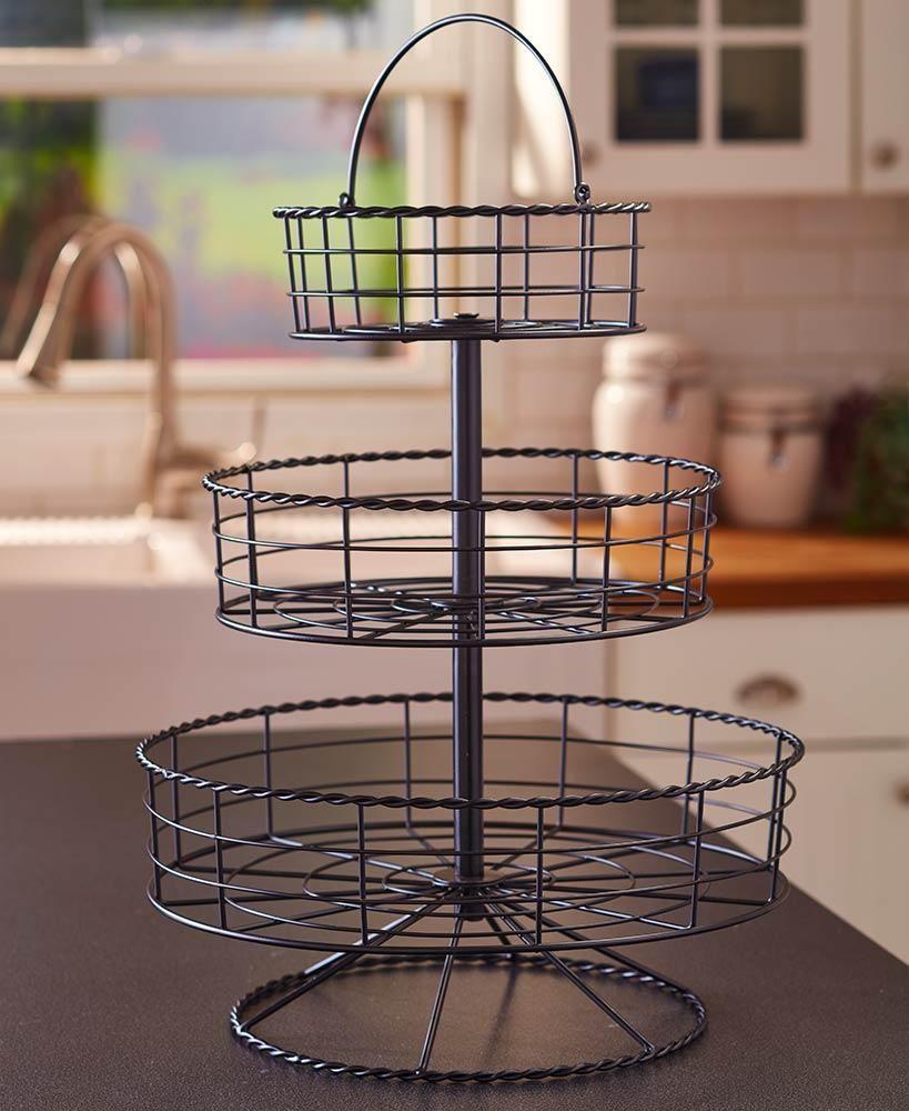 tier farmhouse basket iron black or bronze counter top storage