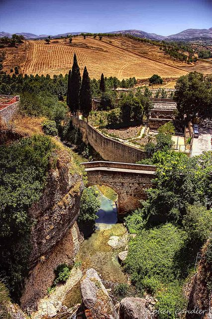 Down The Gorge To Puente Arabe, Ronda, Andalusia, Spain