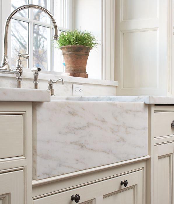 Beautiful Marble Apron Sink; Premier Custom Built Cabinetry
