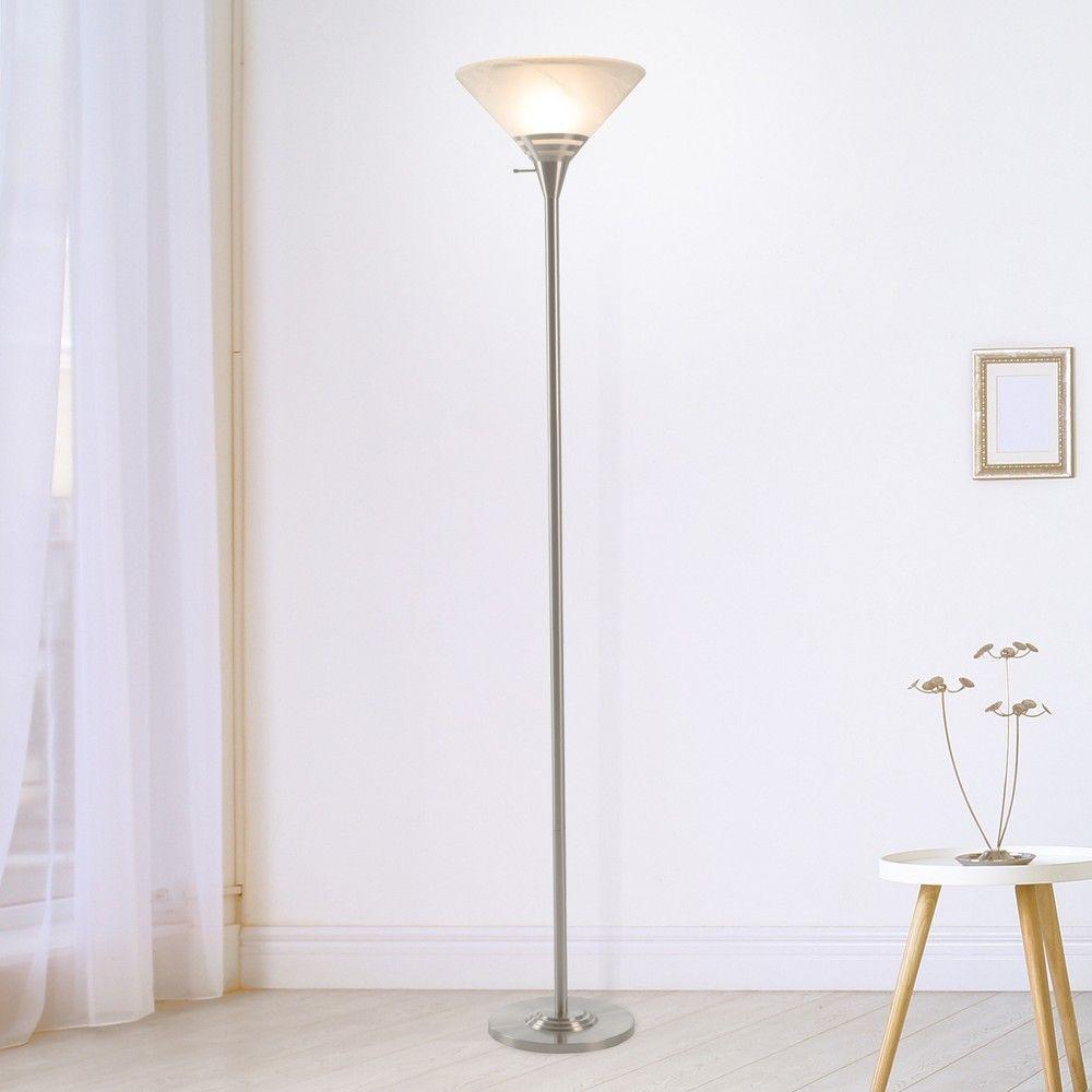 Torchiere Floor Lamp Medium Silver Includes Led Light Bulb Lavish Home Torchiere Floor Lamp Metal Floor Lamps Floor Lamp