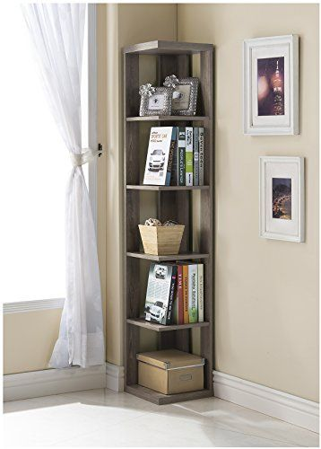 Dark Taupe Finish Wood Wall Corner 5 Tier Bookshelf