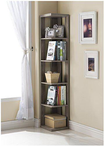Dark Taupe Finish Wood Wall Corner 5 Tier Bookshelf - Kitchen Wall Cabinet Height