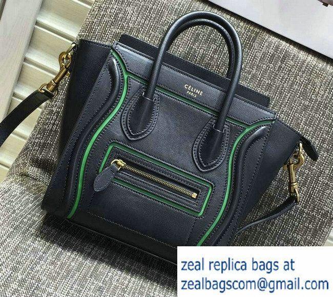 0f075f9dacd0 Celine Luggage Nano Tote Bag in Original Leather Black Green 2016 ...