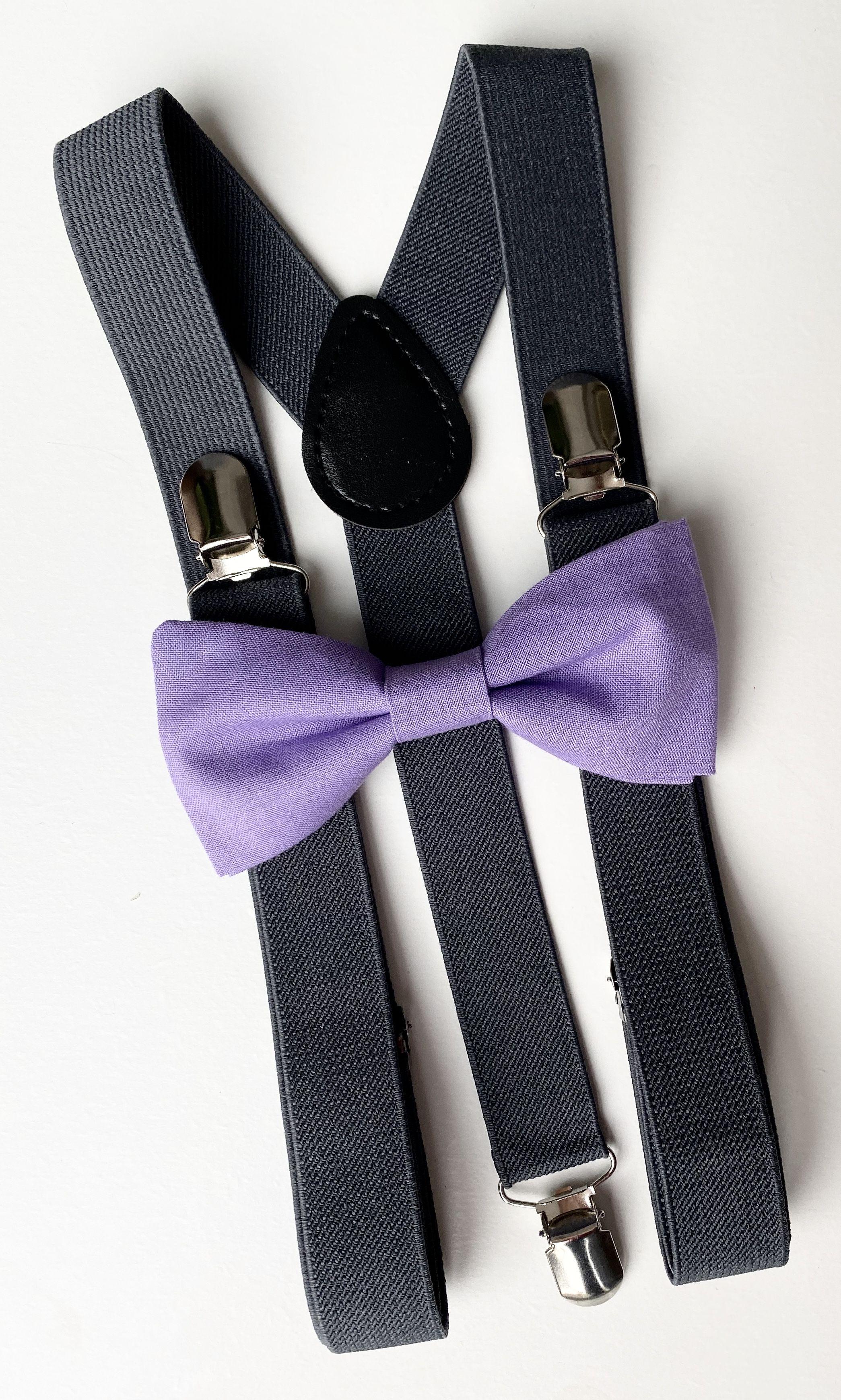 Kids Boys Mens Charcoal Gray Suspenders /& Mauve Pink Bow tie Infant ADULT SET
