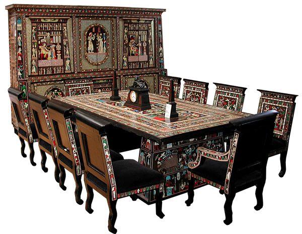 Egyptian revival art deco dining set two tier six door
