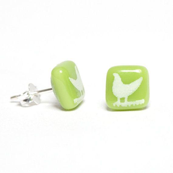 Spring Green Bird Earrings Glass Studs by flyingcheesetoastie, £20.00