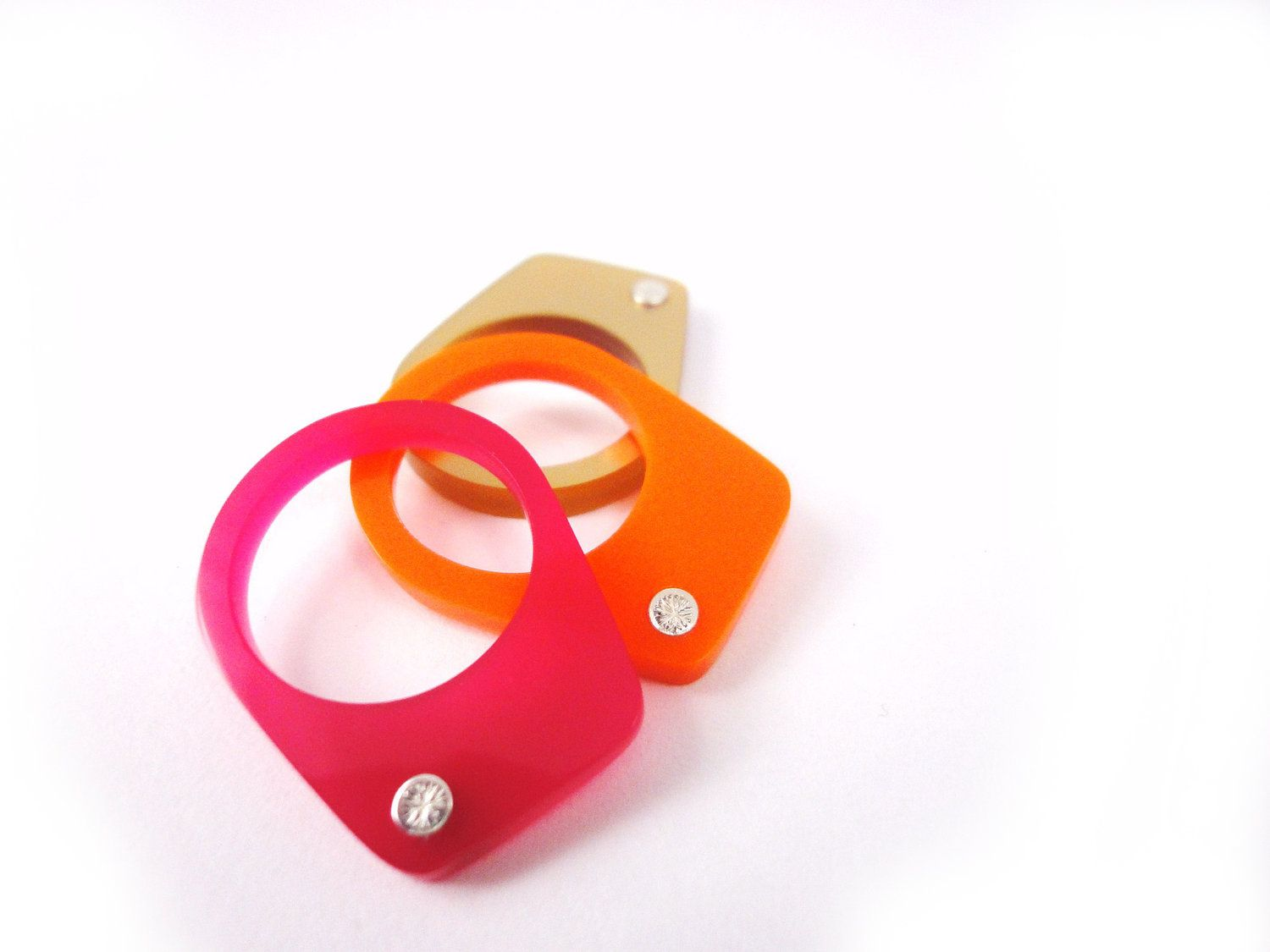 orange, pink and gold Stackable ring Trio. $85.00, via Etsy.