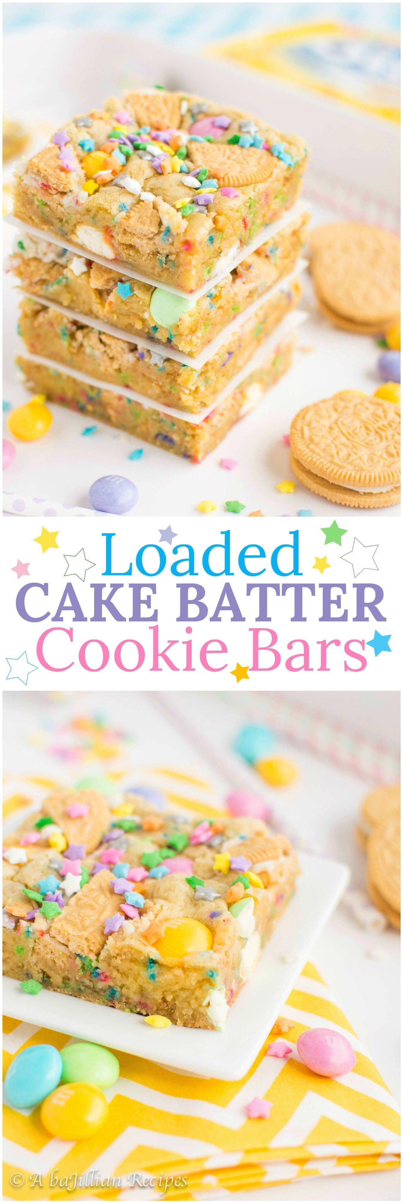 Loaded Cake Batter Cookie Bars Birthday cake oreos Cake batter