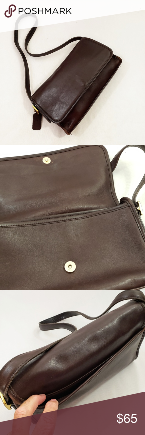 Coach #9072 Andrea Foldover Flap Bag Brown Coach #9072 Andrea Foldover Flap Bag - This is a Coach circa 1980's Classic - Brown Leather - Very Good Condition w minimal wear (see close up photos) -  Approx 8
