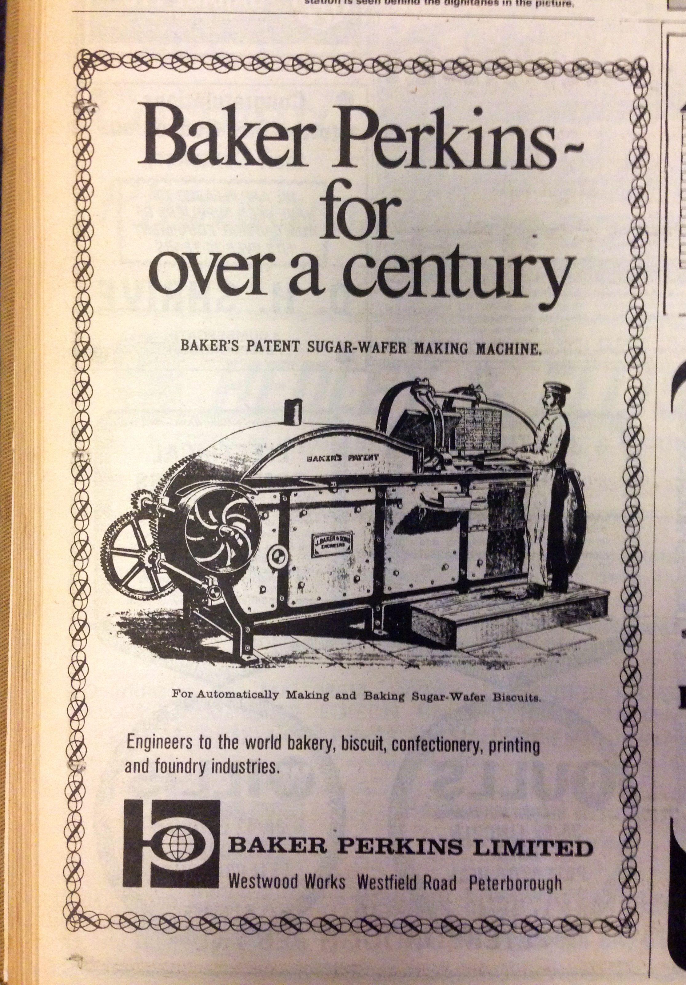 Baker Perkins advert from The Evening Telegraph, 1974
