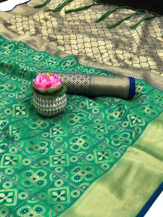 Photo of Bandhej Patola silk saree, banarasi saree, jequard weaving saree, wedding saree, saree blouse, ladies saree, designers saree, green saree