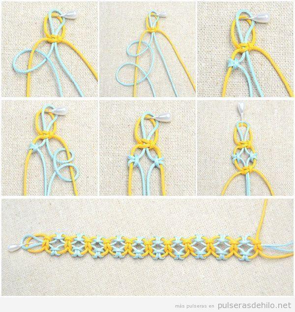 Tutorial brazalete de hilo cola de ratón paso a paso | pulseras ...