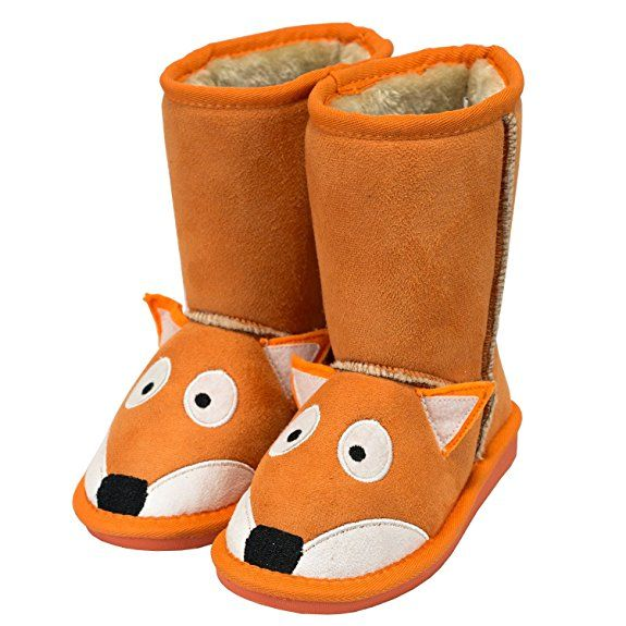 5525bdb12 Kid s Toasty Toez Boots Slippers - Fox Bear Moose Cat Owl Horse Animal (S