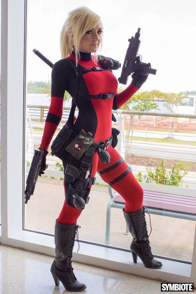 Deadpool Girl Cosplay Costume  Marvel  Superhero  Hot  Women  Picture  Hair Wig -3884