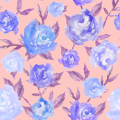 Blue and Pink Watercolor Peonies by angiemakes