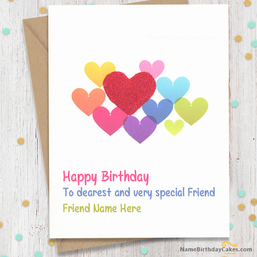 Write Name On Sweet Birthday Card For Friends Happy Birthday
