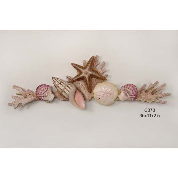 Merveilleux Shell Swag With Coral Metal Wall Art   Natural Colors Beach Decor