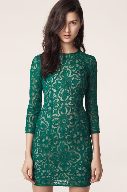 Hand Embroidered Sonja Lace Dress (Emerald)