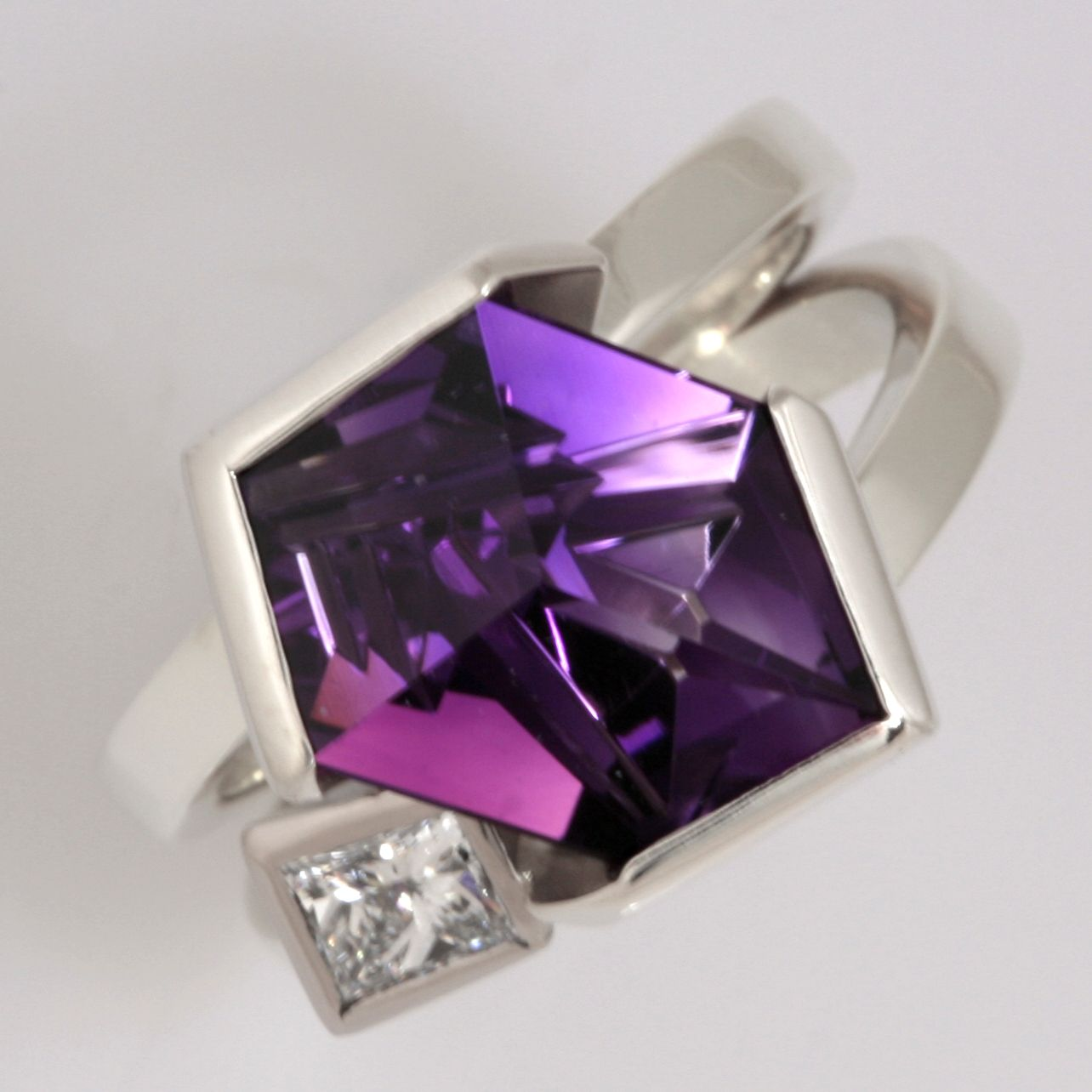 9ct white gold special cut Amethyst and diamond ring