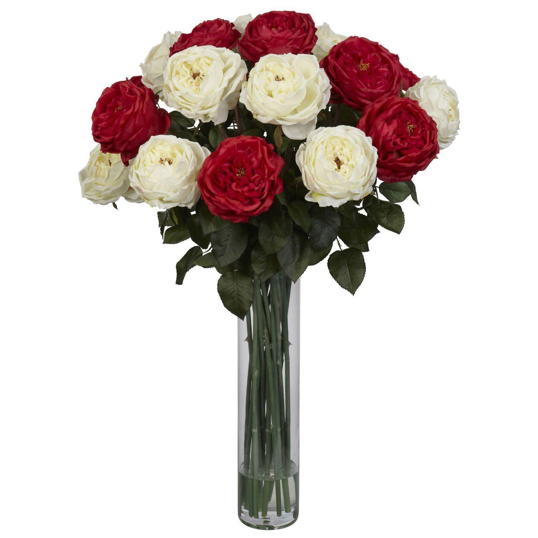 Fancy Rose Silk Floral Arrangements In Red White Silk Floral