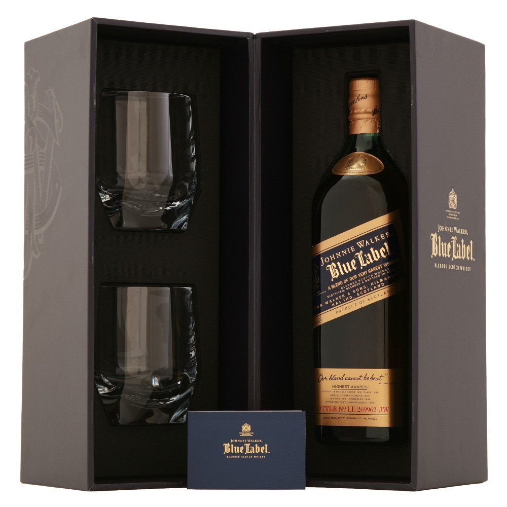 It is a graphic of Breathtaking Johnnie Walker Blue Label Crystal Glasses