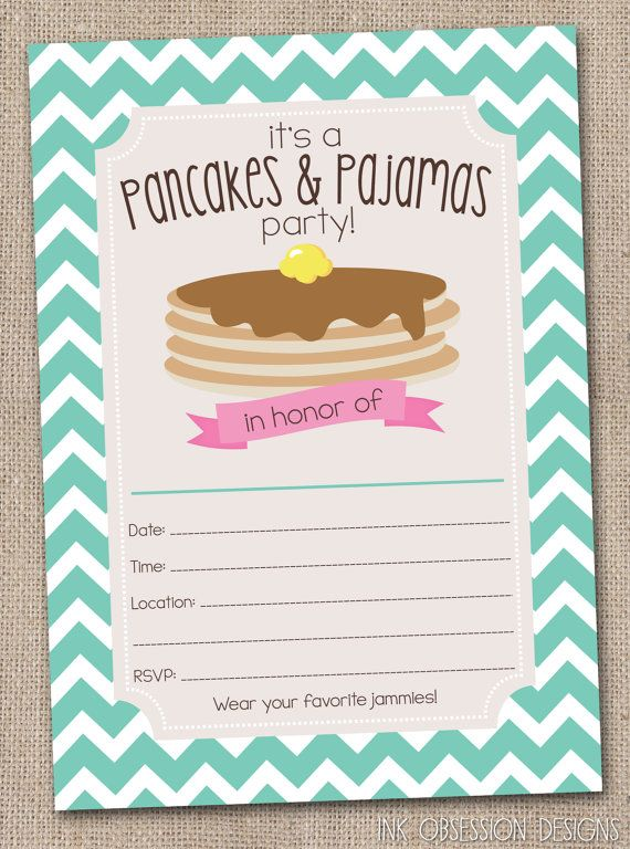 Pancakes pajamas party invitations printable kids birthday party fill in pancakes pajamas party invitations printable kids birthday party invite with chevron stripes instant filmwisefo Gallery