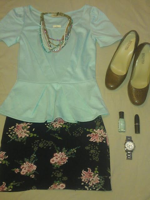 Compass Lane Chic: Spring Outfits - floral skirt, mint green shirt and statement necklace.