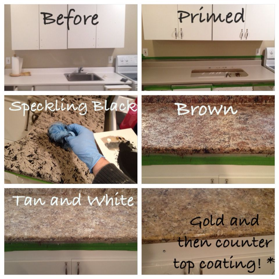 Diy Redo Your Counter Tops Sand Prime Speckle Dark To Light