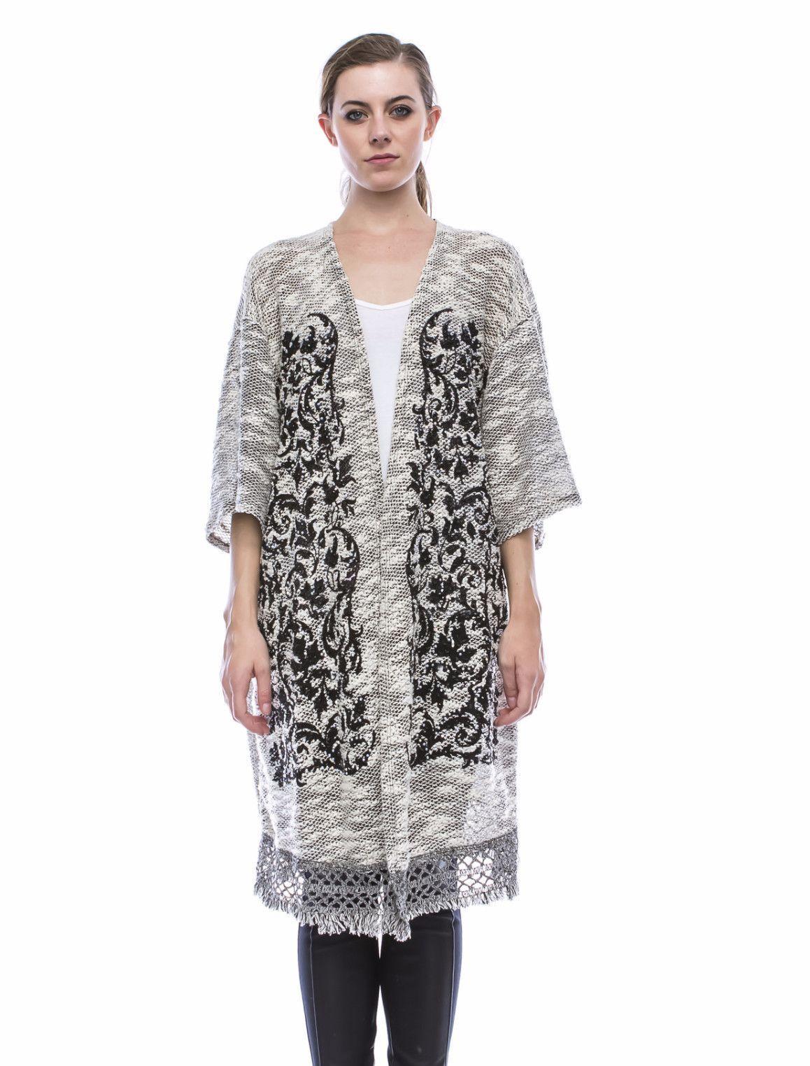 Vocal Apparel Ladies Plus Size Black & White Cardigan Sweater w ...