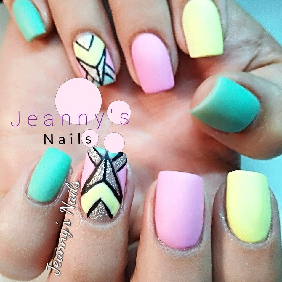 Pastel Colors With Hand Painted Nail Art Nails Nail Art Painted Nail Art