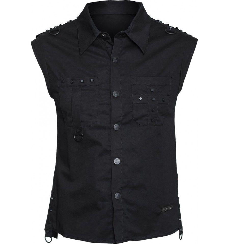 Gothic clothing sleeveless men 39 s shirt black metal studs for Black studs for dress shirt