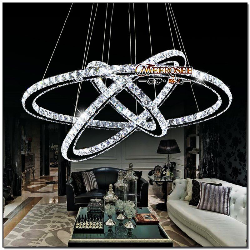 hot sale diamond ring led crystal chandelier light modern pendant lamp 3 circles 100 guarantee. Black Bedroom Furniture Sets. Home Design Ideas