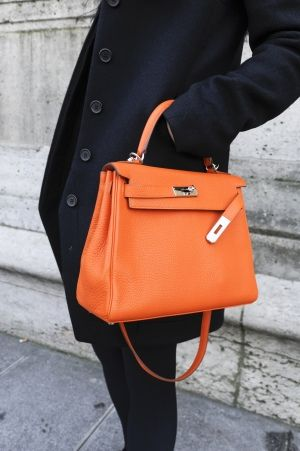 Orange kelly hermes handbags, fashion handbags, #bags