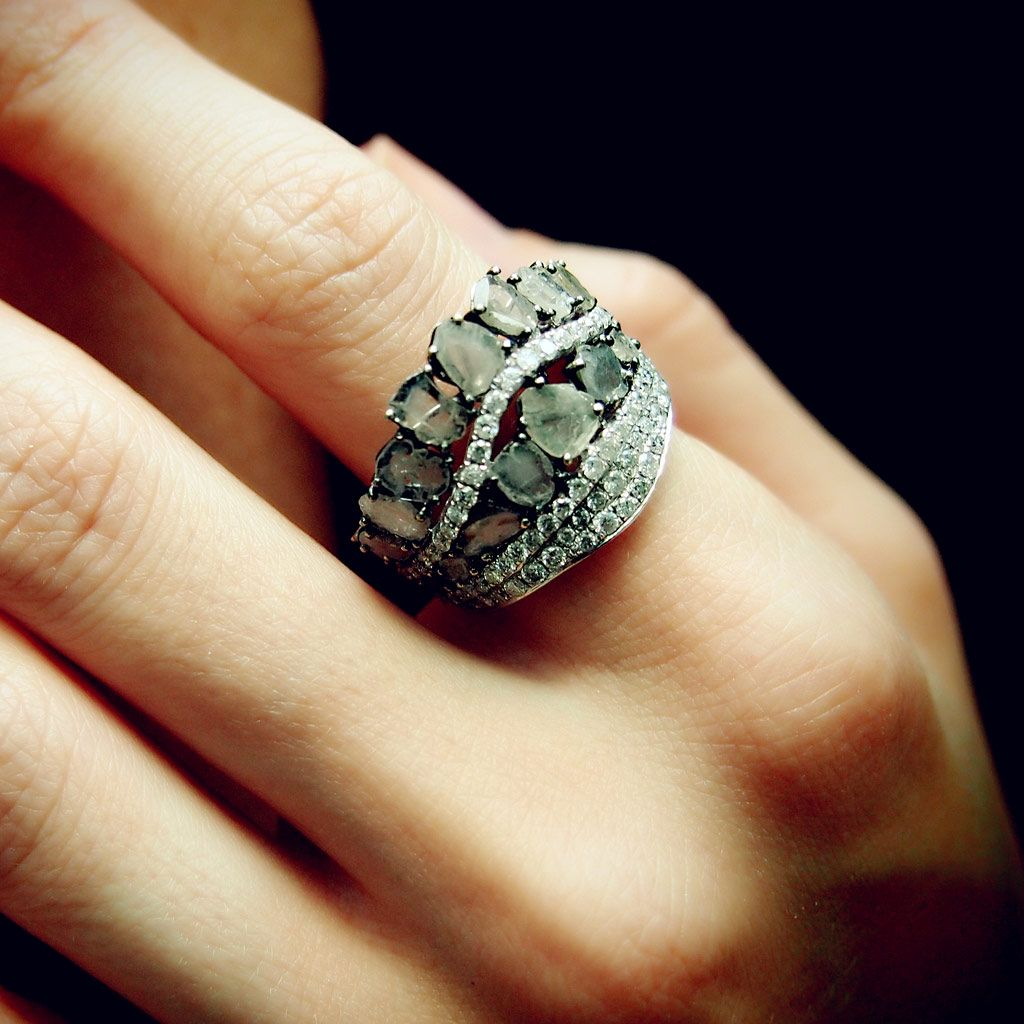 """""""Crazy Horse Grand"""" Raw Diamond Ring (White) L'Deen By"""