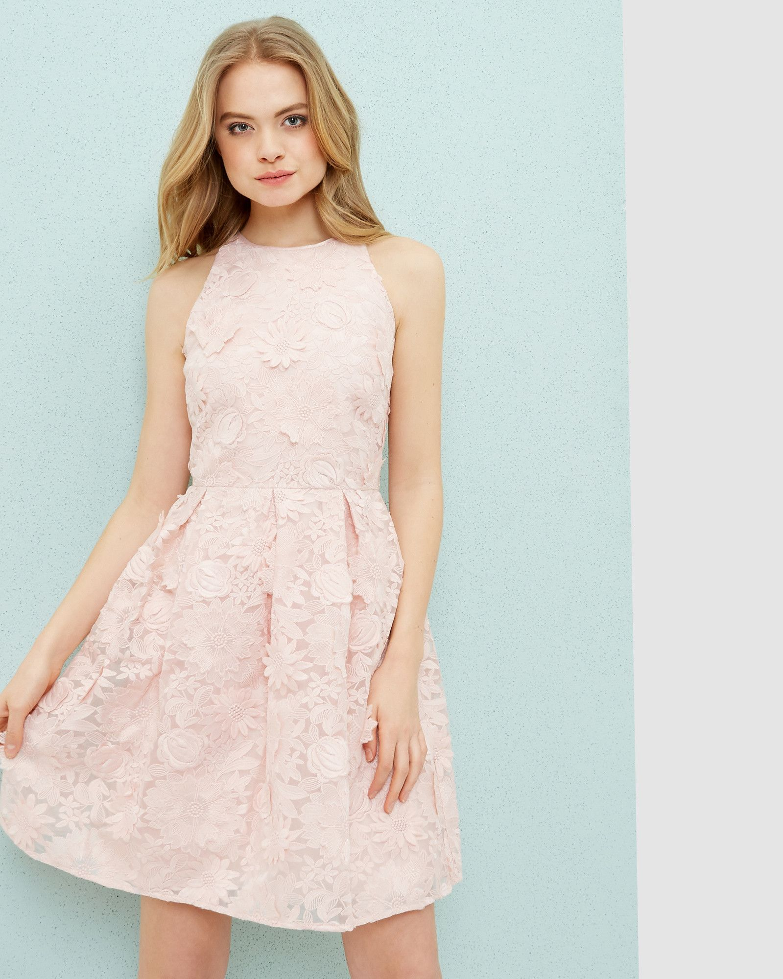 97a72f28ae Lace skater dress - Baby Pink