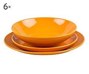 Vajilla de gres, naranja – 18 piezas