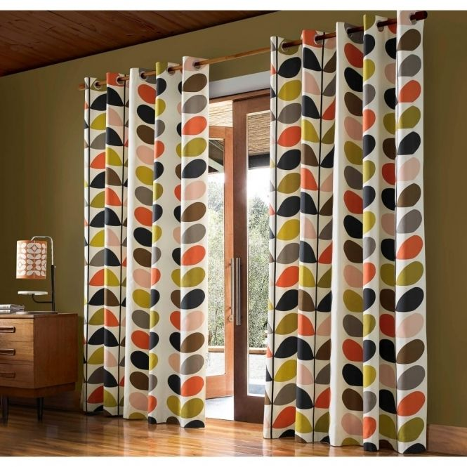 Orla Kiely House Multi Stem Lined Eyelet Curtains Multi Orla Kiely Curtains Luxury Curtains Mid Century Modern Curtains