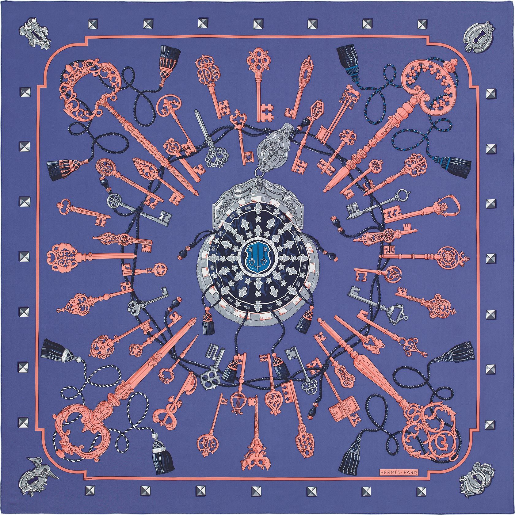 4381e9111c4c Les Cles Hermes silk twill giant scarf, 56
