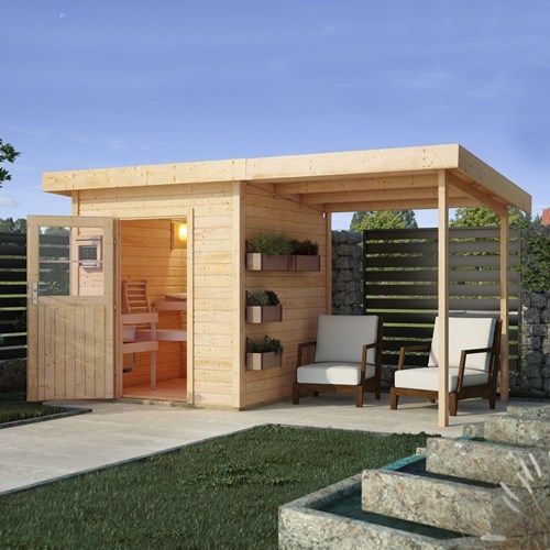Photo of Karibu 38 mm sauna house Torge natural