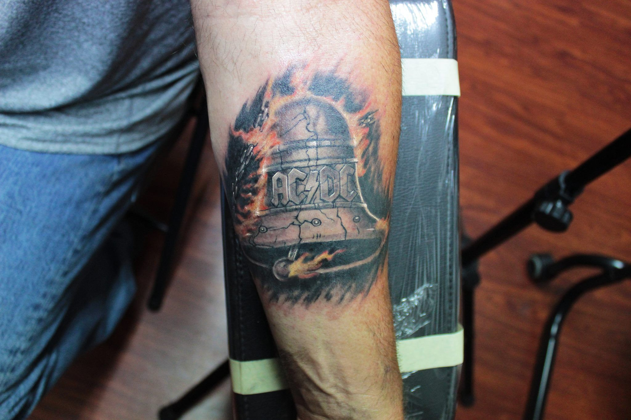 Ac Dc Tattoo Tattooed By Guillermo Tavera At Rogue Tattoo In