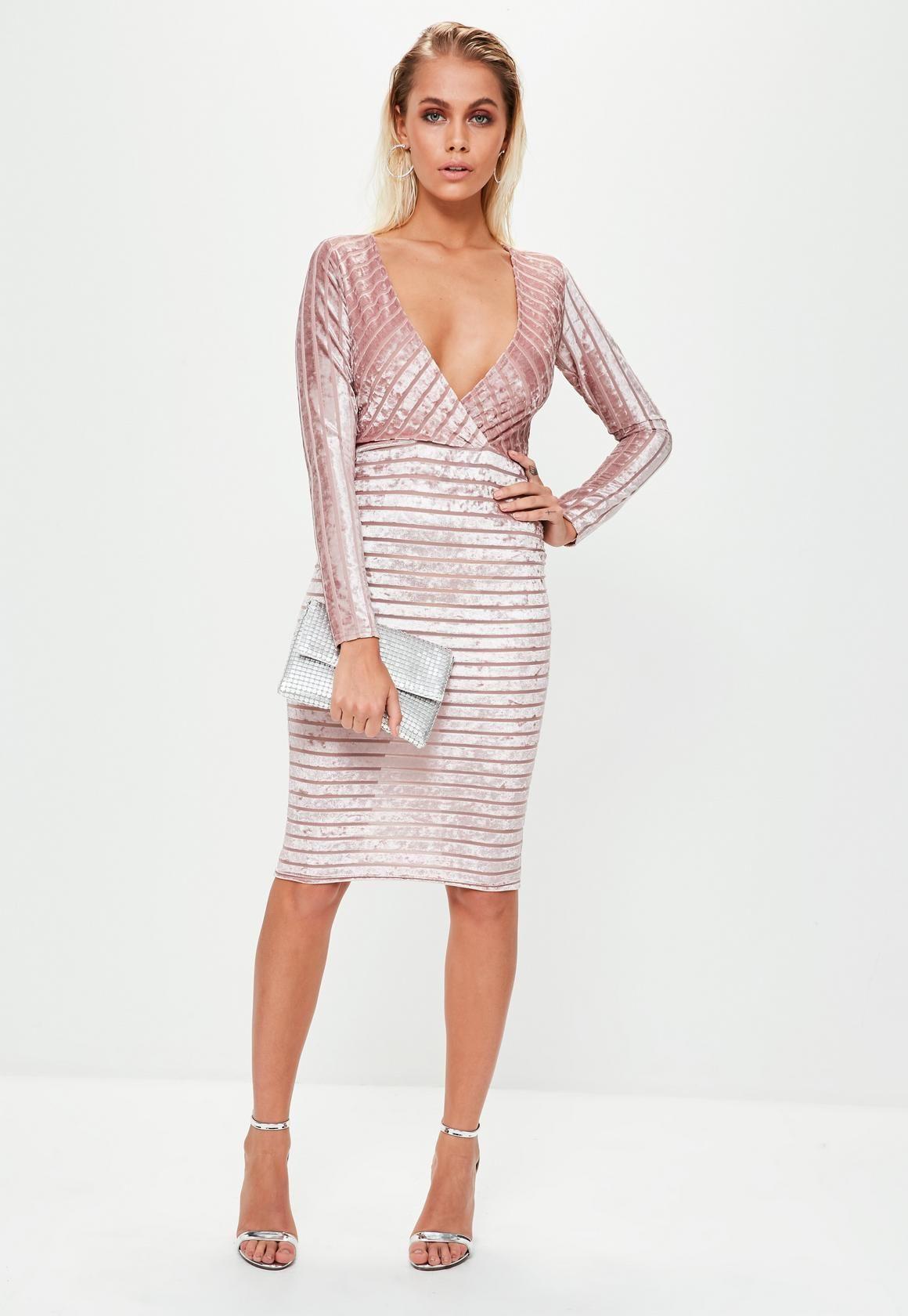 db9cc31a39 Missguided - Pink Velvet Plunge Wrap Midi Bodycon Dress