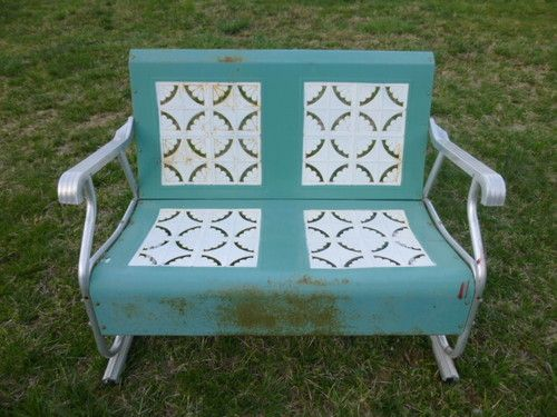 Vintage Metal Porch Glider 2 seater - antique patio lawn swing bench Porch  Furniture, Metal - Vintage Metal Porch Glider 2 Seater - Antique Patio Lawn Swing Bench