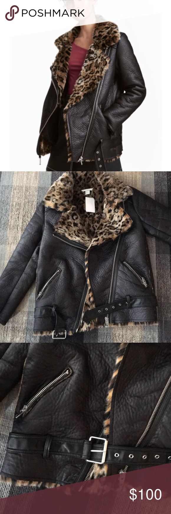 H&M oversized biker jacket coat with leopard fur NWT