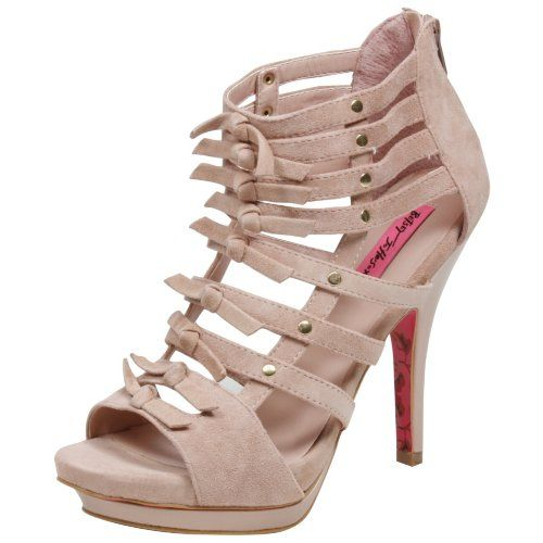 Betsey Johnson Tinaaa  Color: Nude.  Material: Suede.  Suede upper  Gold jems line shoe straps  Heel height 3 1/2 inch  Fashion suede knots line upper shoe straps  Price: $79.99