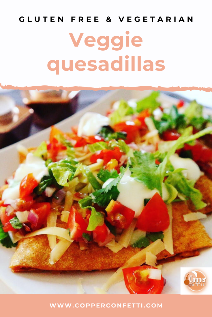 Deliciously simple quesadillas- gluten free and vegetarian. Make a perfect lunch or light dinner! Easy recipe! #glutenfree #glutenfreevegetarian #vegetarian #vegetarianfood #glutenfreefood #glutenfreerecipes #easydinnerrecipe
