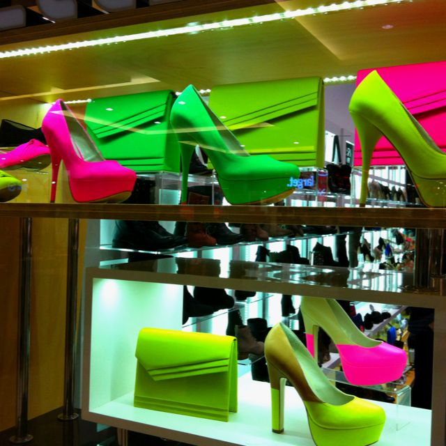 Neon shoes and handbags are everywhere